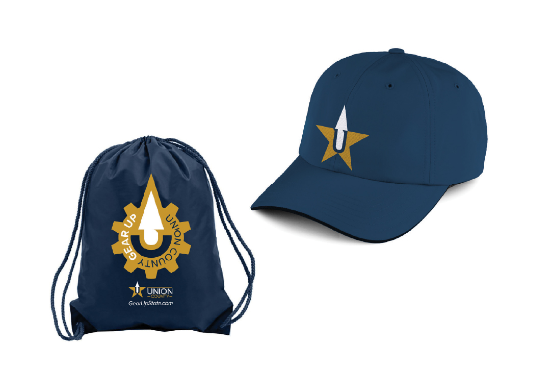 union county branded hat and bag